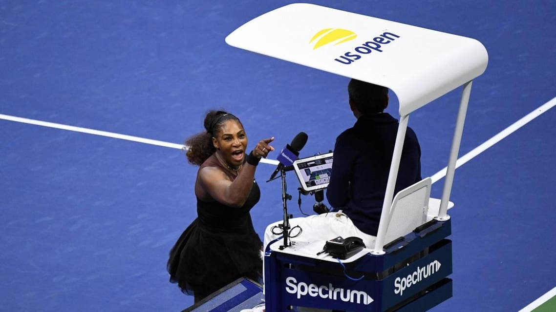Serena Williams yells at chair umpire Carlos Ramos in the final against Naomi Osaka. (Reuters)