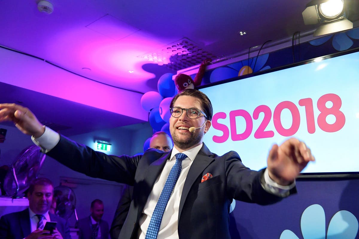 Sweden Democrats party leader Jimmie Akesson speaks on election evening at Kristallen restaurant in central Stockholm. (Reuters)