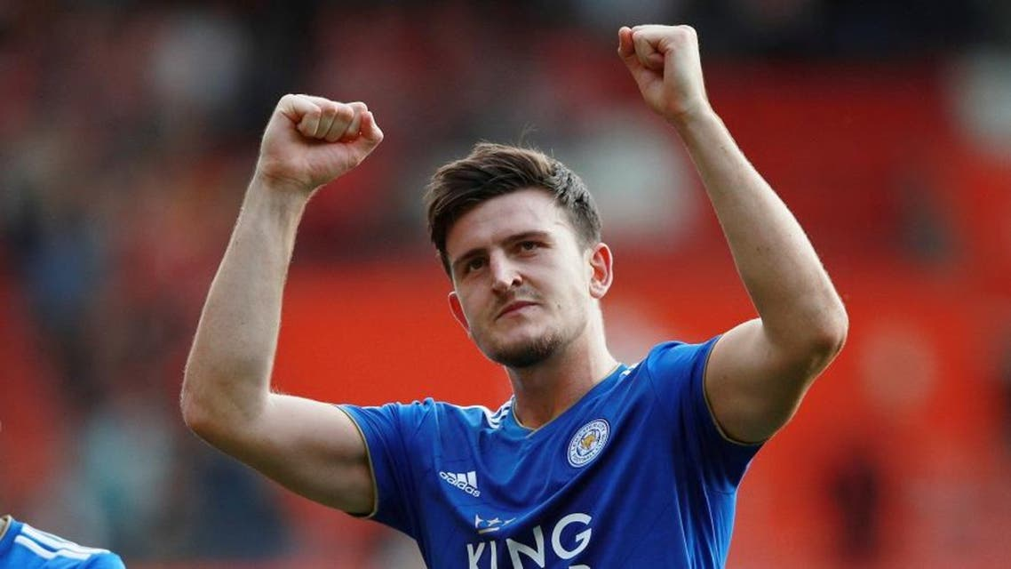 Leicester City's Harry Maguire celebrates after a match. (Reuters)