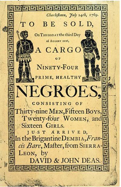صورة لإحدى المعلقات الإشهارية بالمستعمرات البريطانية بالقارة الأميركية لعملية بيع عدد من العبيد الأفارقة الوافدين حديثا