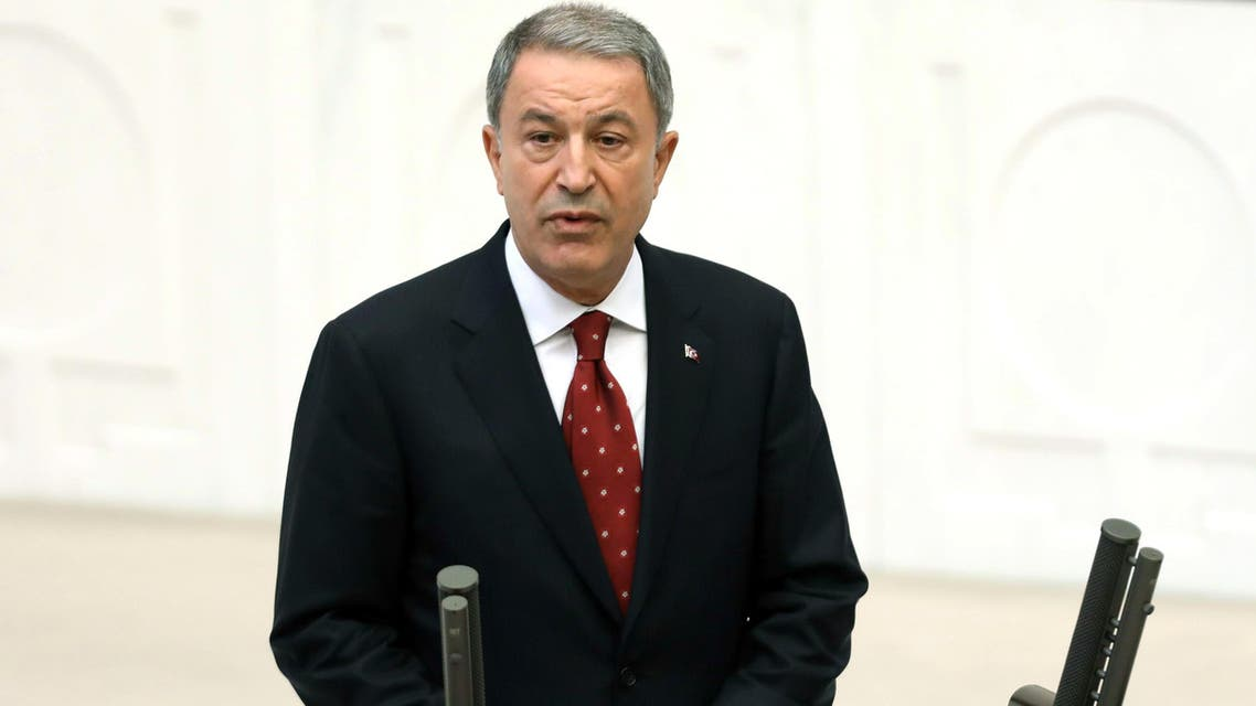 Turkey's newly appointed National Defence Minister Hulusi Akar swears in at the Grand National Assembly of Turkey (TBMM) in Ankara, Turkey on July 10, 2018.