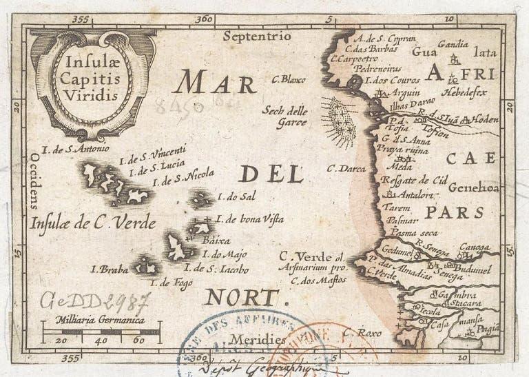 خريطة تعود لسنة 1598 تبرز موقع جزر الرأس الأخضر