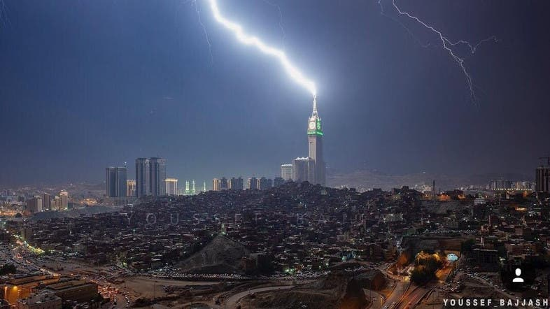 photographers snap electrifying photos of lightning strikes in mecca