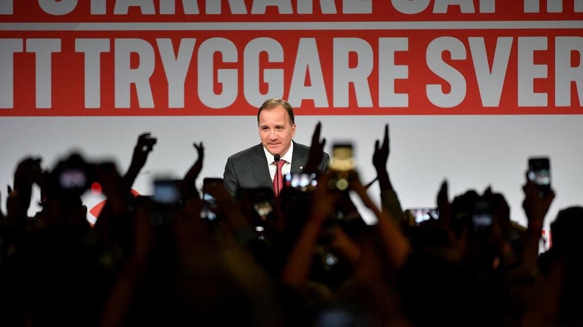 Sweden's Prime Minister and leader of the Social democrat party Stefan Lofven speaks at an election party at the Fargfabriken art hall in Stockholm. (Reuters)