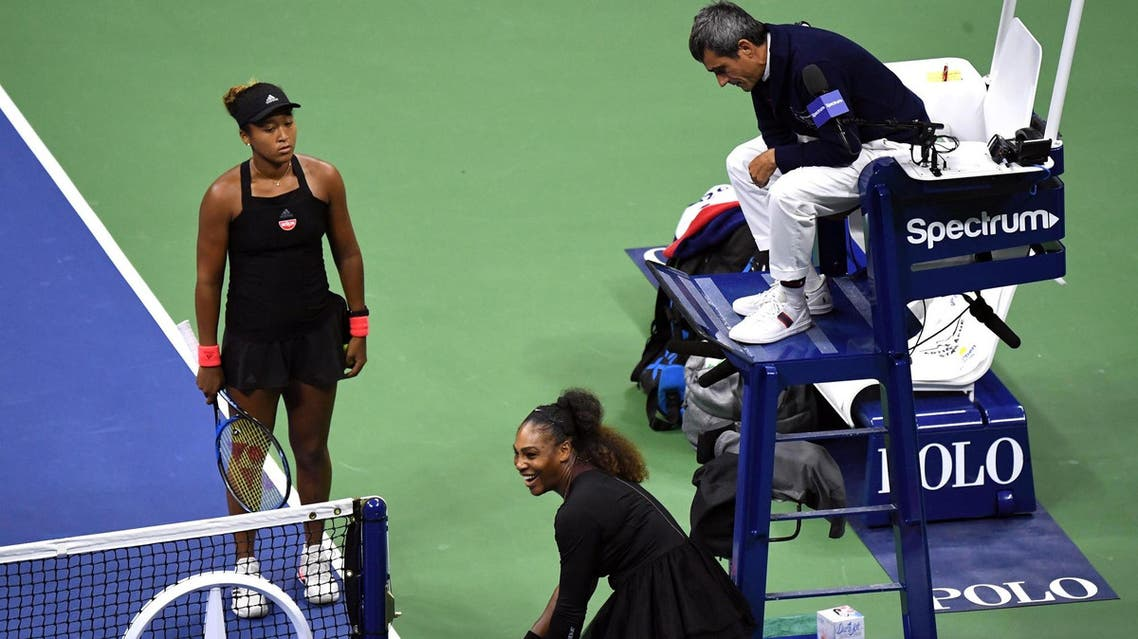 Williams was cited by Carlos Ramos three times Saturday during her 6-2, 6-4 loss to Naomi Osaka. (Reuters)