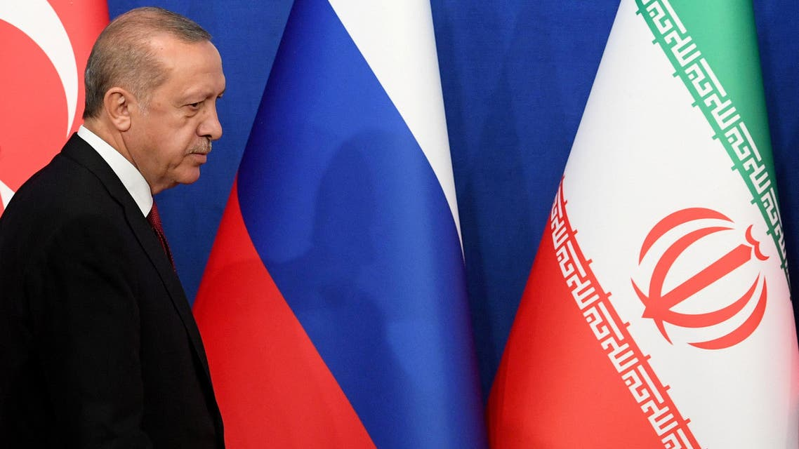 REFILE - ADDING INFORMATION Turkish President Tayyip Erdogan arrives for a news conference with President Hassan Rouhani of Iran and Vladimir Putin of Russia following their meeting in Tehran, Iran September 7, 2018. Kirill Kudryavtsev/Pool via REUTERS