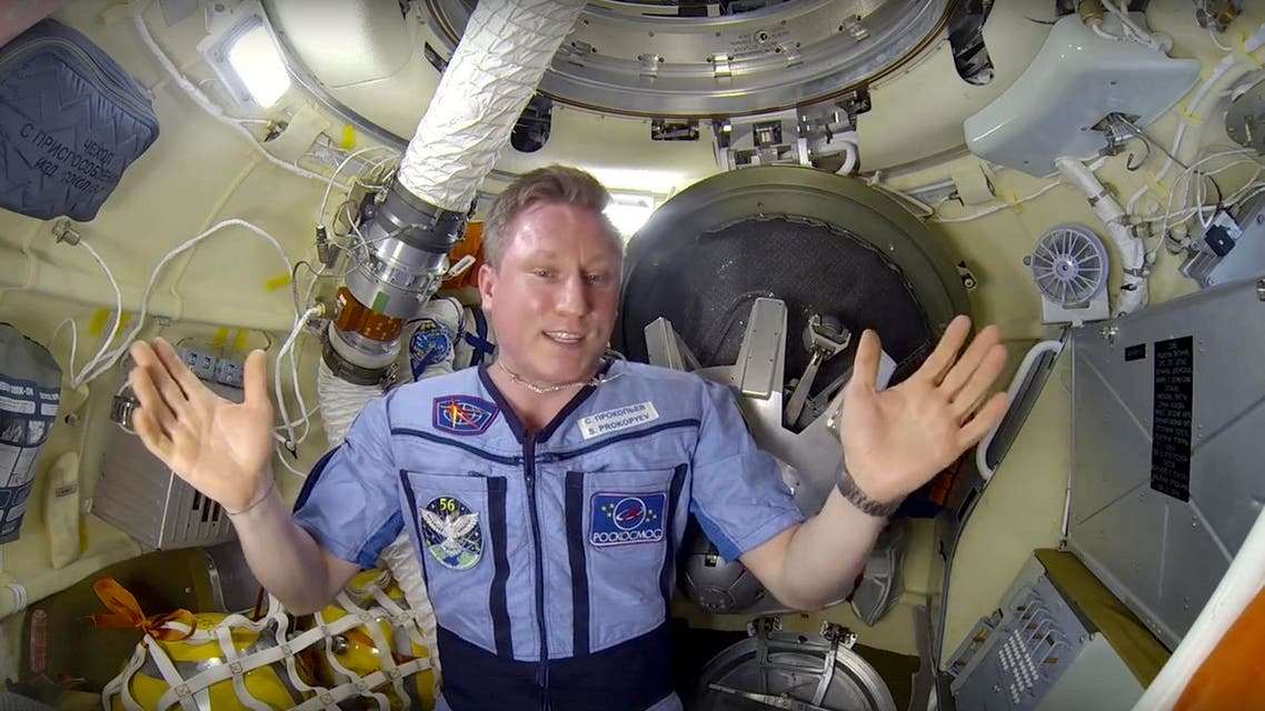 Sergei Prokopyev speaks in a video message from the orbiting outpost released by the Russian space agency Roscosmos on Sept. 10 2018. (AP)