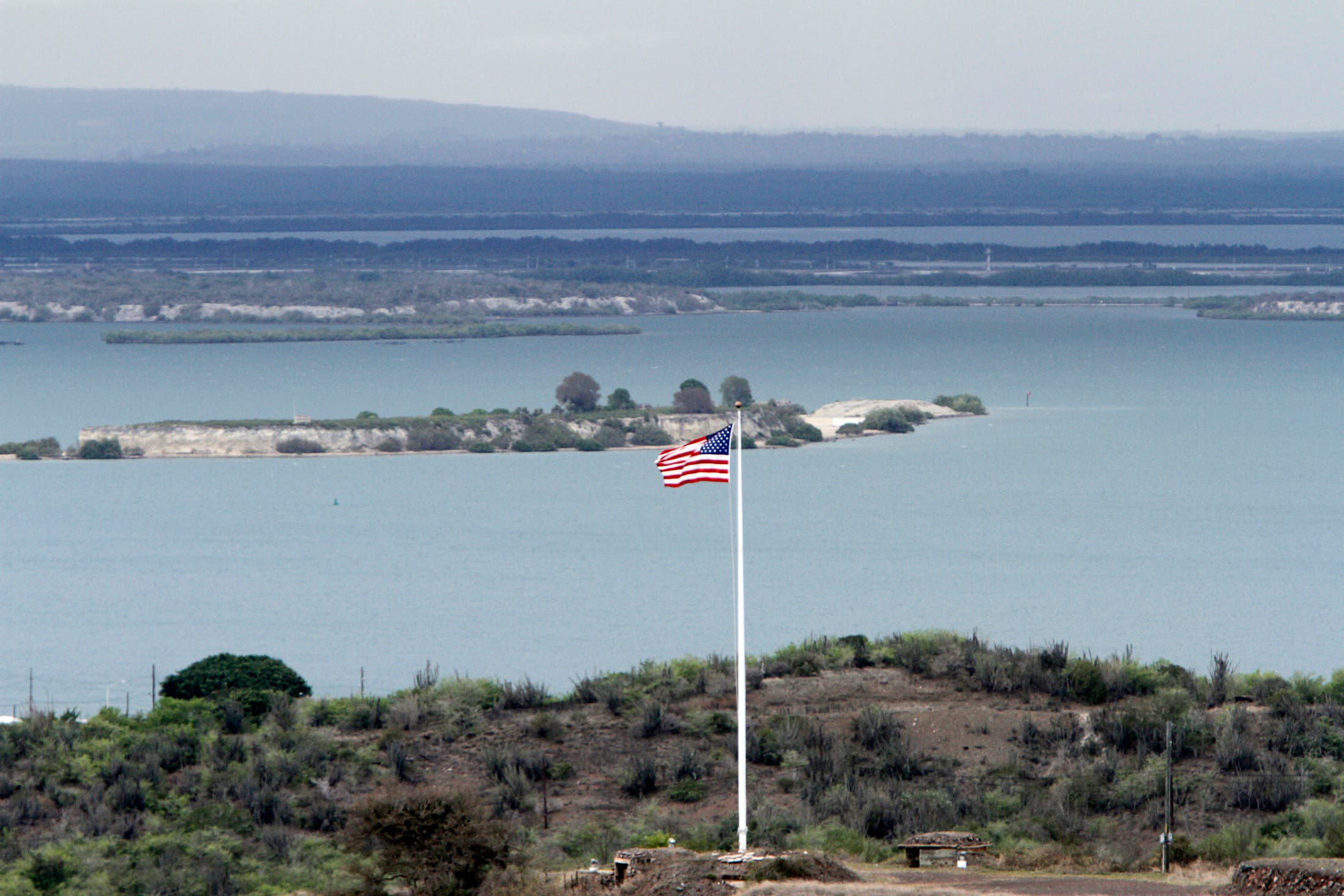 A view of Hospital Cay, Guantanamo Bay, Cuba during the arraignment of Khalid Sheikh Mohammed, and four co-defendants on May 5, 2012. (AP)