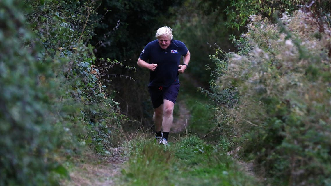 Boris Johnson jogs near his home in Oxfordshire on September 11, 2018. (Reuters)