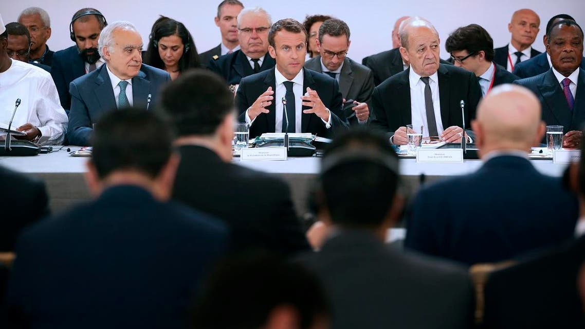 French President Emmanuel Macron, and UN Special Envoy for Libya, Lebanese Ghassan Salame (L) during an International conference on Libya at the Elysee Palace in Paris, on May 29, 2018. (AFP)