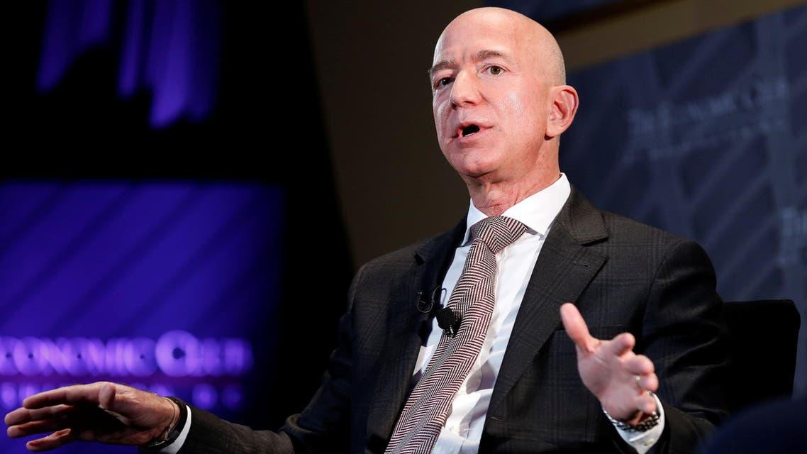 "Jeff Bezos speaks at the Economic Club of Washington DC's ""Milestone Celebration Dinner"" in Washington on September 13, 2018. (Reuters)"