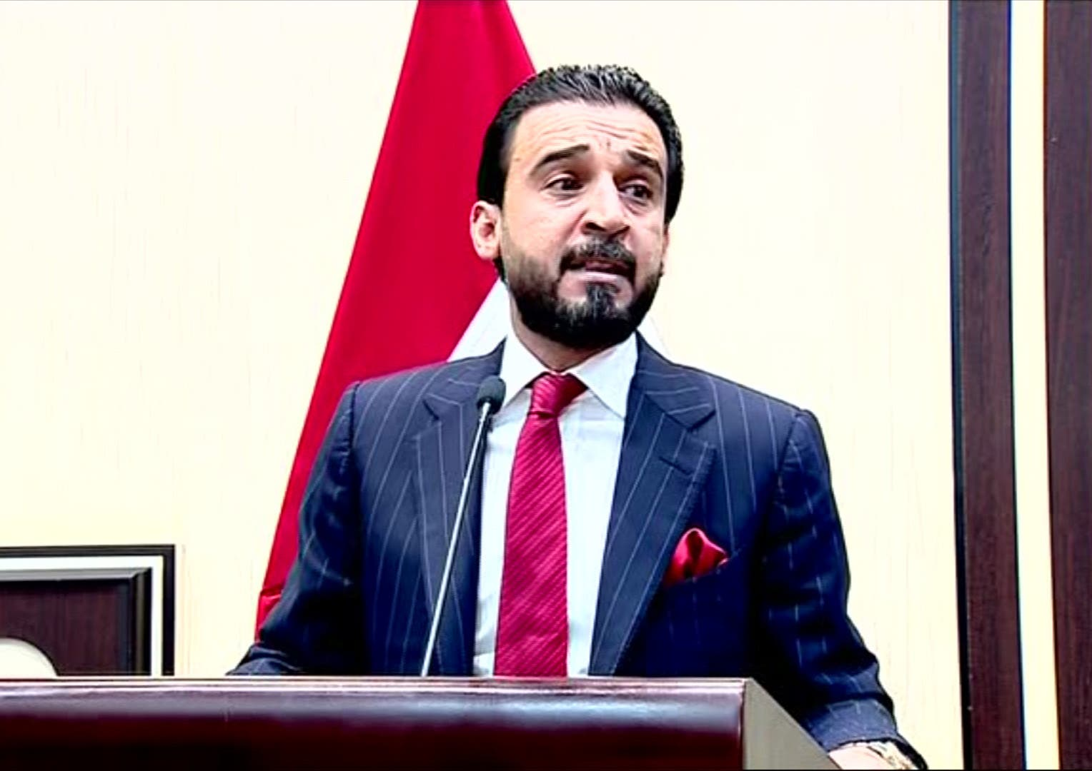 Newly-elected parliament speaker Mohamed Al-Halbusi addressing the chamber in the capital Baghdad. (AFP)