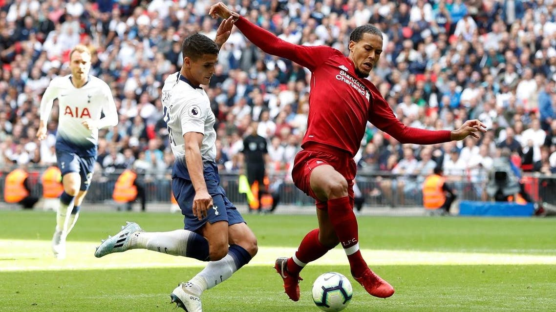 Tottenham's Erik Lamela in action with Liverpool's Virgil van Dijk at Wembley on September 15, 2018.( Reuters)