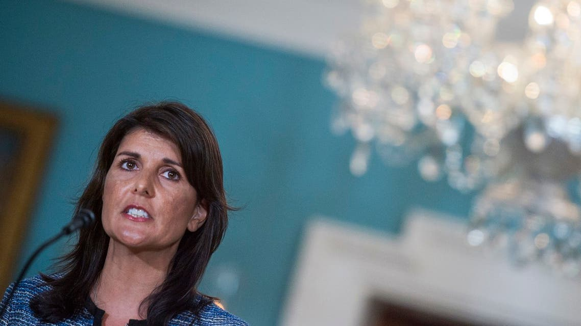 US Ambassador to the United Nation Nikki Haley speaks at the US Department of State in Washington DC on June 19, 2018. The United States announced that it is withdrawing from the UN Human Rights Council.