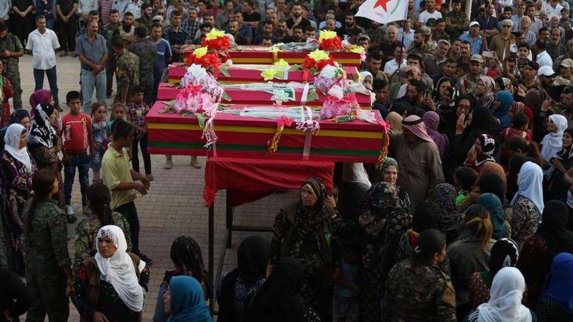Funeral of members of the Syrian Democratic forces who were killed during the battles against ISISin Deir al-Zour recently (File photo: Supplied)