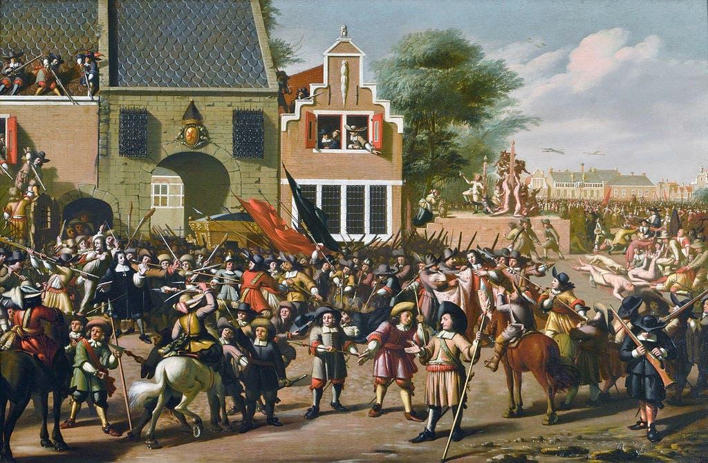 لوحة زيتية تجسد أطوار عملية إعدام يوهان دي ويت وشقيقه