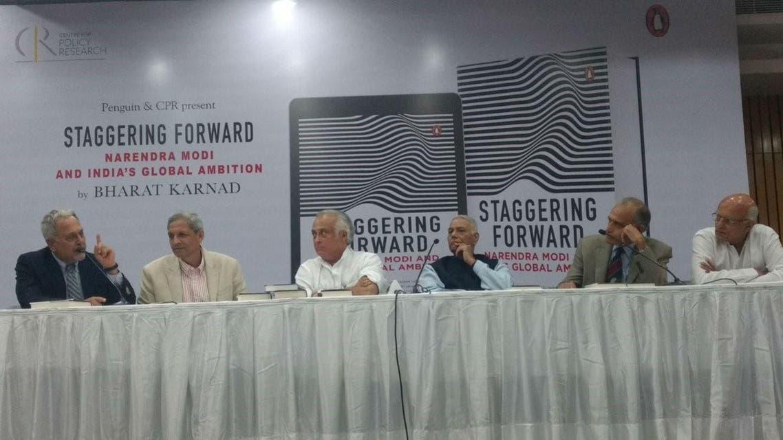 Bharat Karnad (extreme left) at the book launch with columnist Ajay Shukla, Congress Party leader Jairam Ramesh, BJP's Yashwant Sinha, ex-Admiral Arun Prakash and ex-Foreign Secretary Shiv Shankar Menon. (Supplied)