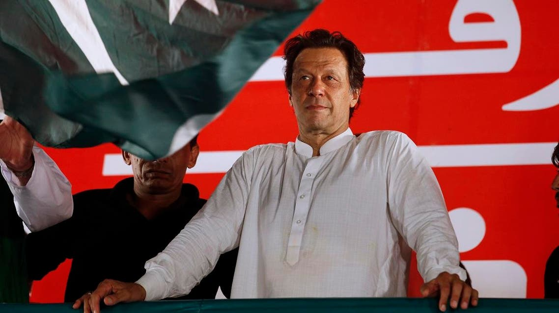 Pakistani politician Imran Khan, chief of Pakistan Tehreek-e-Insaf party, arrives to address an election campaign rally in Islamabad. (AP)