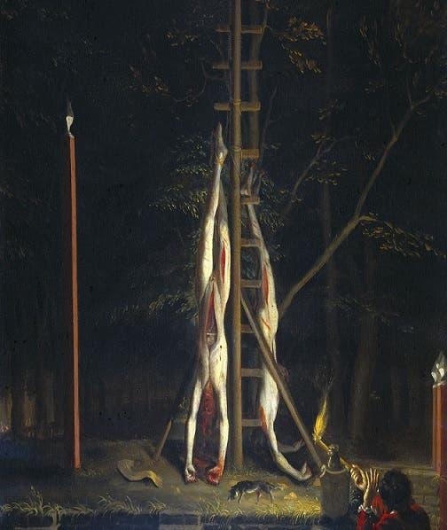 لوحة زيتية يعود تاريخها لسنة 1672 تخليدا لعملية إعدام يوهان دي ويت وشقيقه وتعليق جثتيهما