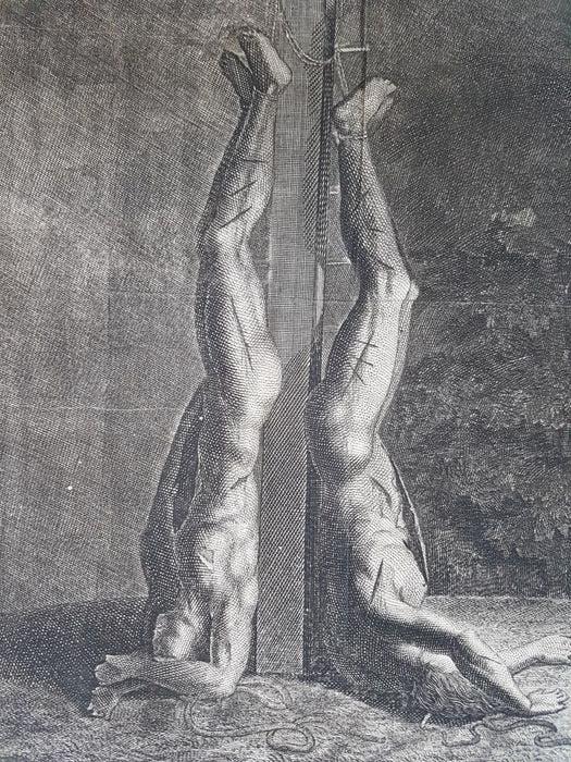 رسم تخيلي لجثتي يوهان دي ويت وشقيقه الممزقتين