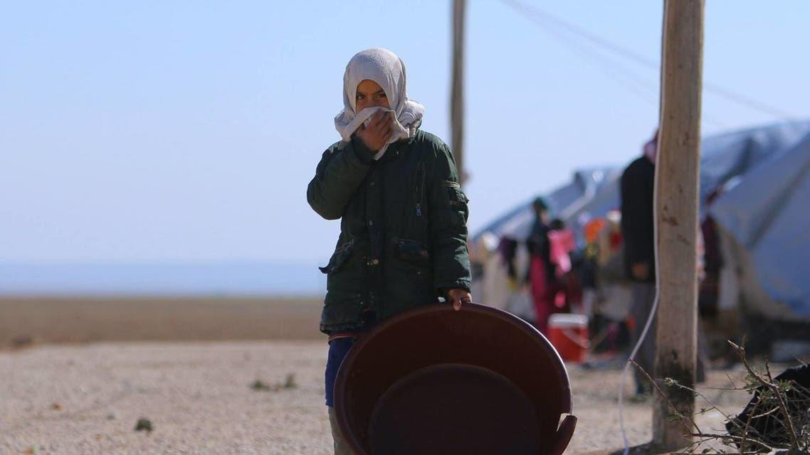 طفلة نازحة في مخيمات الشمال السوري نتيجة الحرب