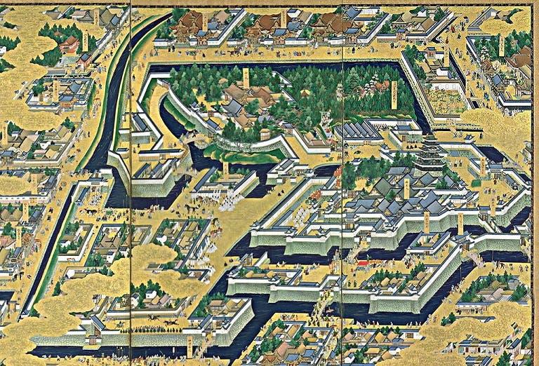 صورة لجزء من مدينة إيدو وفي الوسط يظهر مكان القصر والذي احترقت أجزاء منه