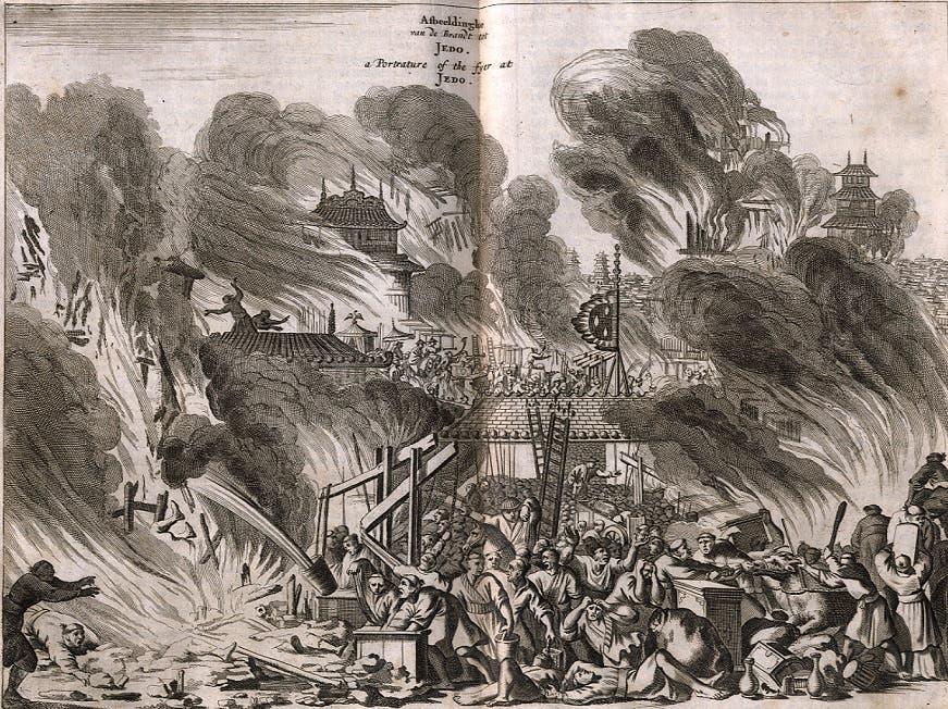 رسم تخيلي لعدد من الأوروبيين حول حريق إيدو سنة 1657
