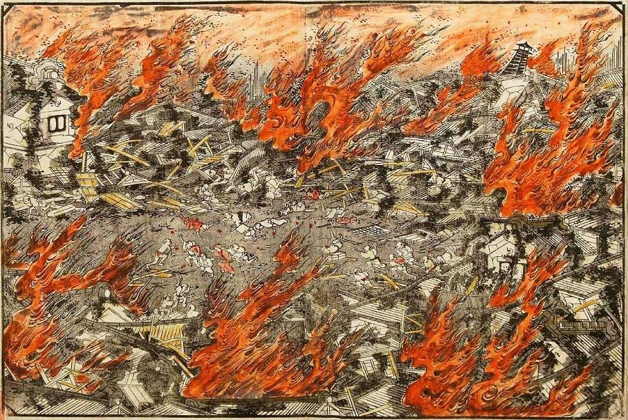 رسم تخيلي لحريق إيدو سنة 1657