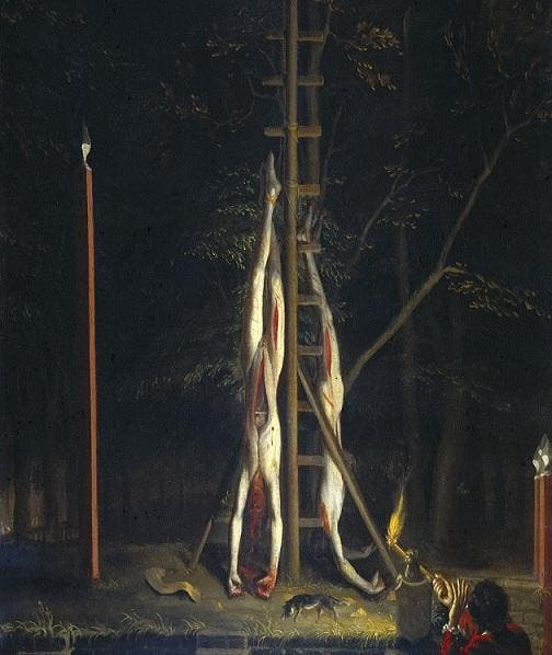 تابلویی رنگ روغن که به سال که به سال 1672 باز میگردد، برای بزرگداشت روز اعدام یوهان دی ویت و برادرش