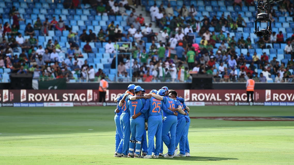 Members of Indian team in a huddle before the match in Dubai on September 19, 2018. (AFP)