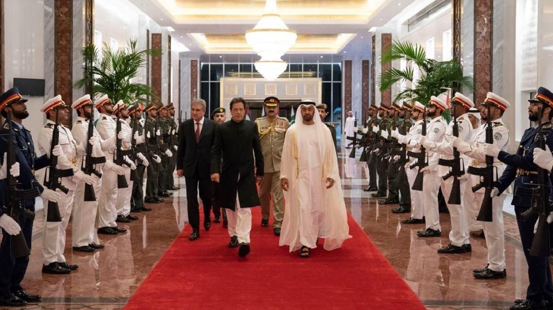 Pakistani Prime Minister Imran Khan being recieved in Abu Dhabi. (WAM)