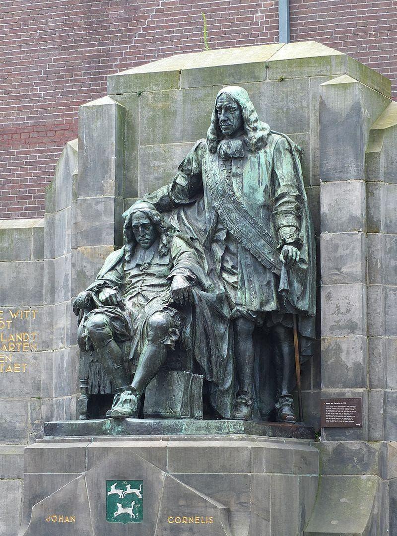 مجسمهای در شهر دودریخت برای بزرگداشت یوهان دی ویت و برادرش