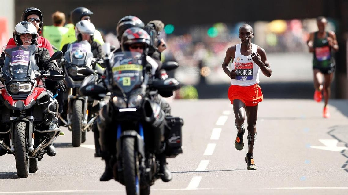 Kenya's Eliud Kipchoge in action during the men's race at the London Marathon on April 22, 2018. (Reuters)