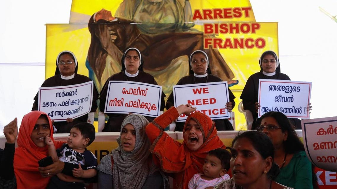 Indian Christian nuns and Muslim supporters protest as they demand the arrest of Bishop Franco Mulakkal, who is accused of raping a nun, outside the High Court in Kochi in the southern state of Kerala on September 13, 2018. (AFP)