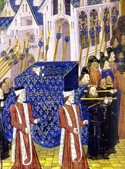 رسم تخيلي لجنازة الملك الرضيع جان الأول حيث يظهر الأخير في أعلى النعش مرتديا ثياب الملوك