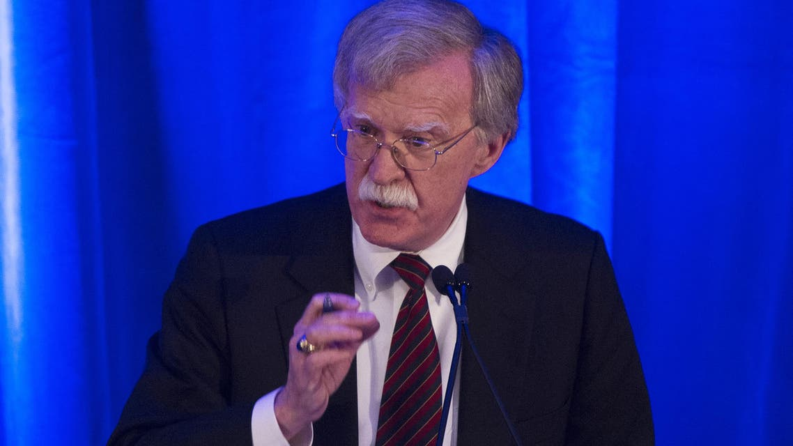 """US National Security Advisor, John Bolton, speaks to the Federalist Society in Washington DC on September 10, 2018. The United States threatened Monday, September 10, 2018 to arrest and sanction judges and other officials of the International Criminal Court if it moves to charge any American who served in Afghanistan with war crimes. White House National Security Advisor John Bolton called the Hague-based rights body """"unaccountable"""" and """"outright dangerous"""" to the United States, Israel and other allies, and said any probe of US service members would be """"an utterly unfounded, unjustifiable investigation."""""""