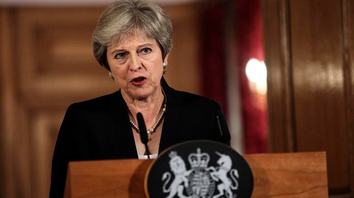 British Prime Minister Theresa May makes a statement on Brexit negotiations with the European Union, at 10 Downing Street, in London, Friday, Sept. 21, 2018. (AP)