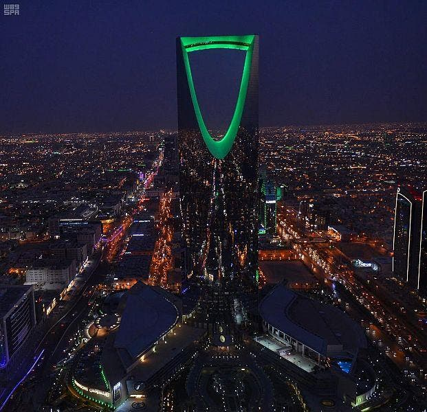 Aerial photographs show Riyadh dressed in green for Saudi