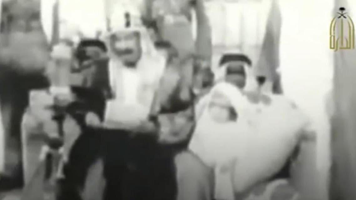 King Abdulaziz with King Salman. (Screengrab)
