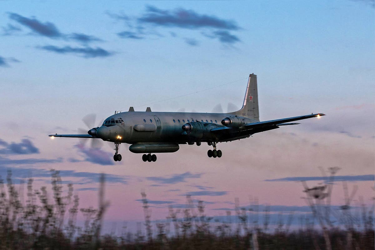 A photo taken on July 23, 2006 shows an Russian IL-20M (Ilyushin 20m) plane landing at an unknown location. Russia blamed Israel on September 18, 2018 for the loss of a military IL-20M jet to Syrian fire, which killed all 15 servicemen on board (AFP)