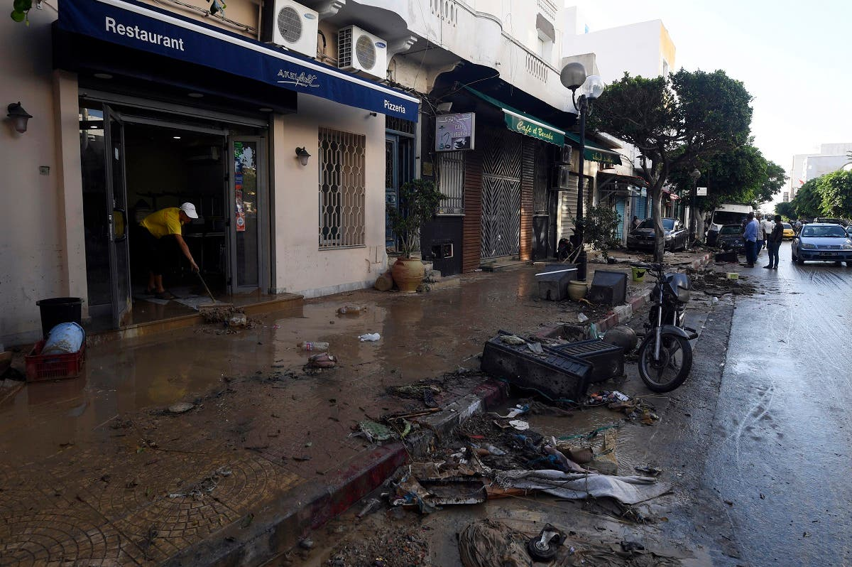 Debris-filled streets in the town center of Nabeul  on coastal Tunisia following deadly flash flooding. (AFP)