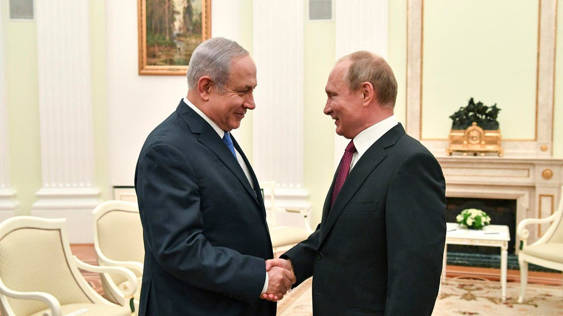 President Putin with Prime Minister Netanyahu during their meeting in Moscow on July 11, 2018. (File photo: AP)