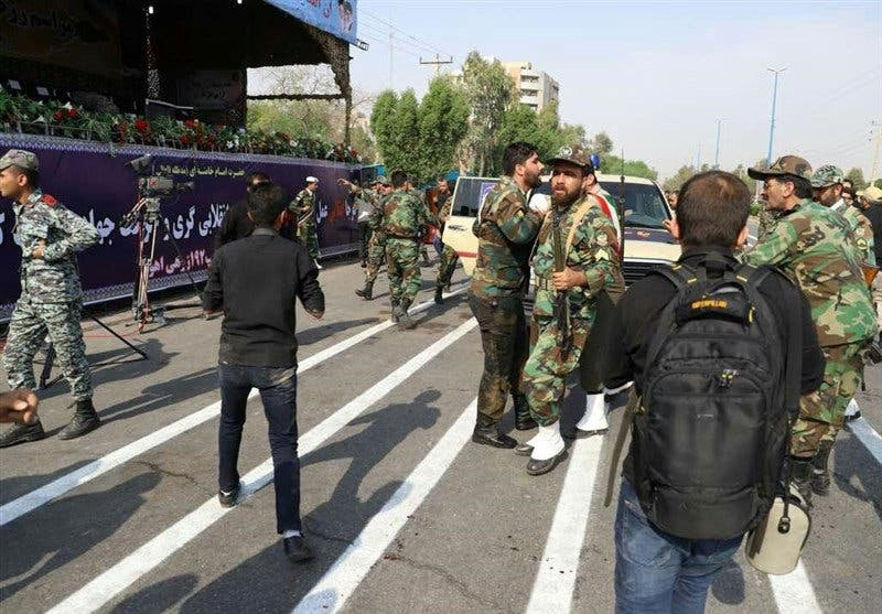 A general view of the attack during the military parade in Ahwaz. (Reuters)