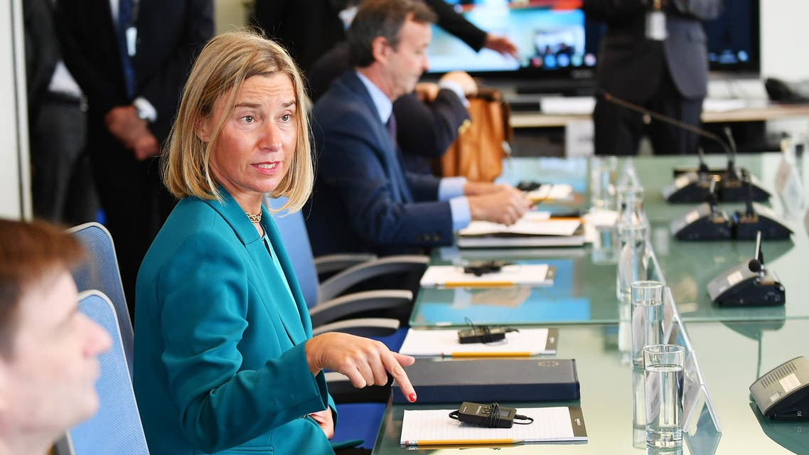 EU's Federica Mogherini during meeting on Libya hosted by Jean-Yves Le Drian in New York on September 24, 2018. (AFP)
