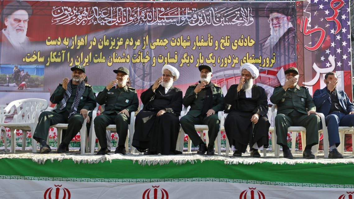 Iranian military officials and clerics attend a mass funeral for the victims of those killed during an attack on a military parade on the weekend, in the southwestern Iranian city of Ahvaz on September 24, 2018. (AFP)