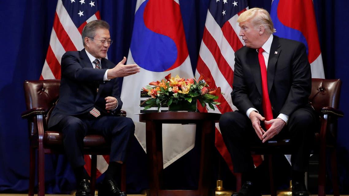 الرئيس الأميركي خلال اجتماع مع نظيره الكوري الجنوبي على هامش الجمعية العامة للأمم المتحدة بنيويورك الاثنين