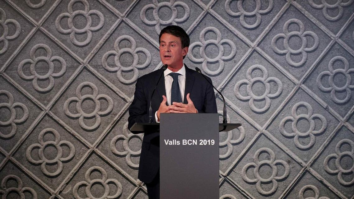 Former French PM Valls gestures as he announces that he will run for mayor of Barcelona during an event in Barcelona. (Reuters)