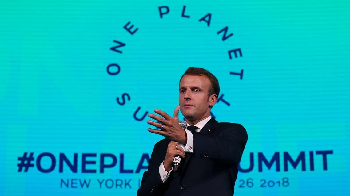 French President Emmanuel Macron speaks at the One Planet Summit in New York, U.S., September 26, 2018. (Reuters)