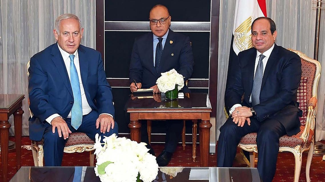 Sisi and Netanyahu on the sidelines of the United Nations GA (AFP)