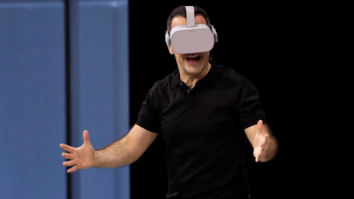 Hugo Barra, Facebook's Vice President of Virtual Reality, shows the new Oculus Go googles, during F8, Facebook's developer conference, in San Jose, California. (AP)